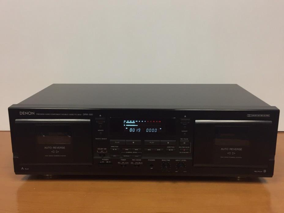 Denon DRW-580 Double Cassette Deck Player Recorder,Soft Touch Logic Auto-Reverse