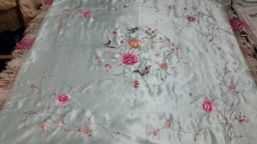 Antique Old Chinese Silk Embroidery Textile Piano Tapestry Butterfly Flowers