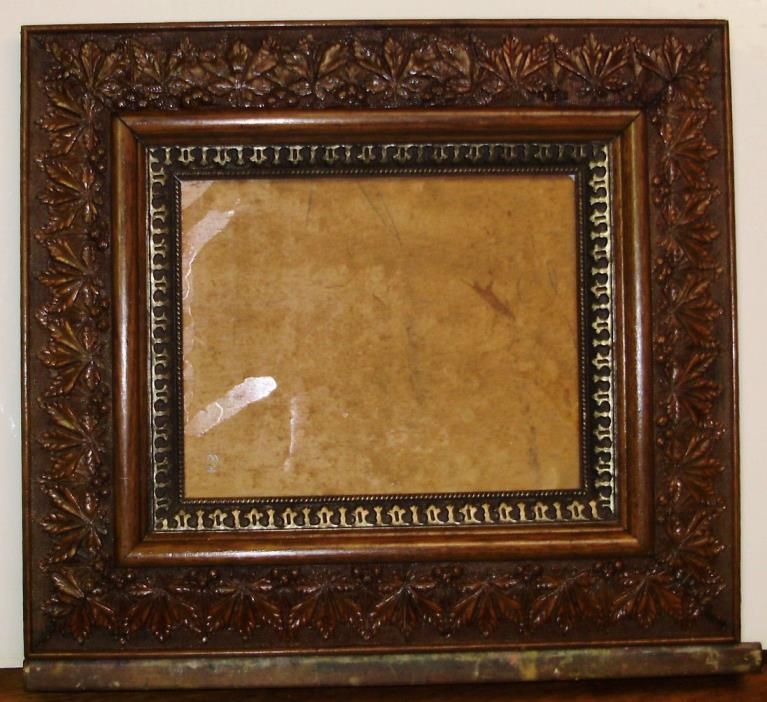 1800s ANTIQUE - Baroque Ornate ACORNS Gesso on Wood FRAME / Original Condition -