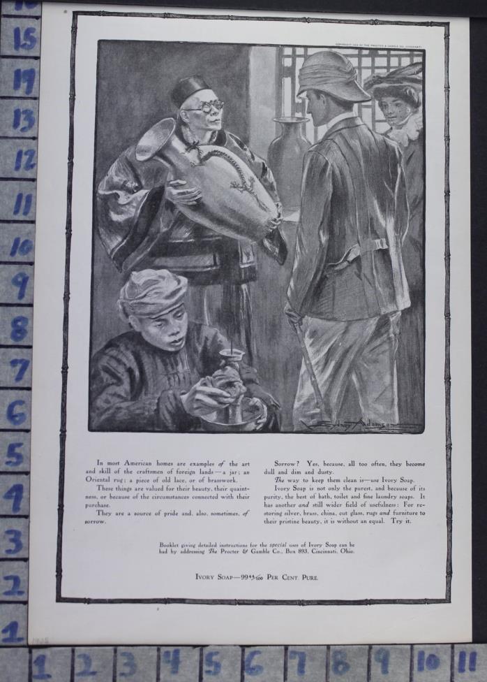 1905 IVORY SOAP CHINESE VASE EXPLORER HOUSE HOME DECOR VINTAGE ART AD  CI49