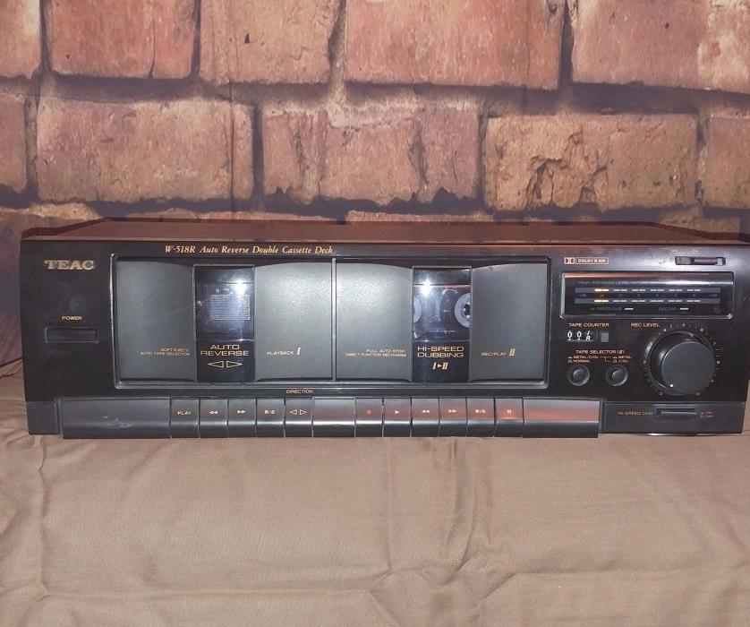 Teac W-518R Auto Reverse Double Cassette Deck - Tested Please Read Description