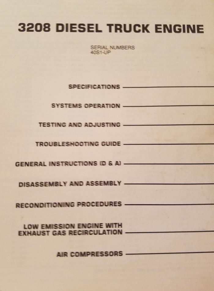 CAT Caterpillar service manual, 3208 diesel truck engine, SN 40S1-UP, SEBR05506