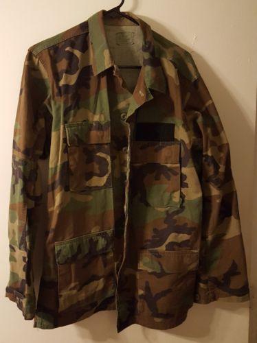 Military Surplus Woodland Camo Uniform BDU Coat Shirt Top Army Medium - Long ML