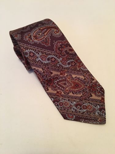 Vintage 100% Tricel Brown Neck Tie With Paisley Pattern By Resilio Quality