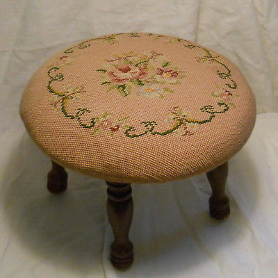 Vintage Round Wooden Footstool with Needlepoint Cover - Excellent Condition!