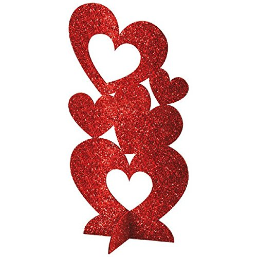Amscan Radiant Valentine's Day Party Stacked 3-D Hearts Table Centerpiece Pack x