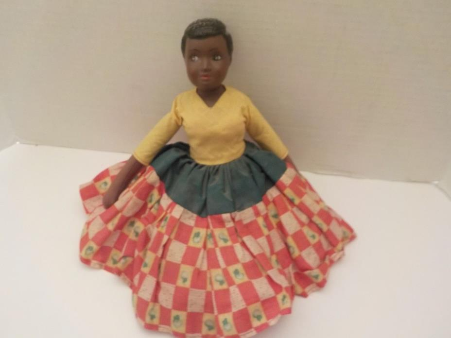 Vintage 1950s 60s Folk Art Rag Doll African American Girl 14