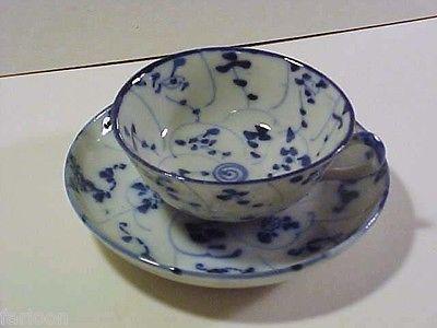 C.1880 ARITA Porcelain DEMITASSE CUP & SAUCER Handpainted Cobalt