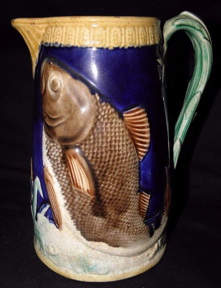 Antique Majolica Pitcher with a Fish on it and a leaf shaped handle~approx 8 1/4