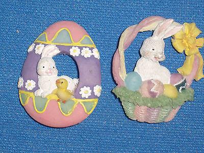 2 Easter Egg Bunny Chick Easter Basket 3-D Pins