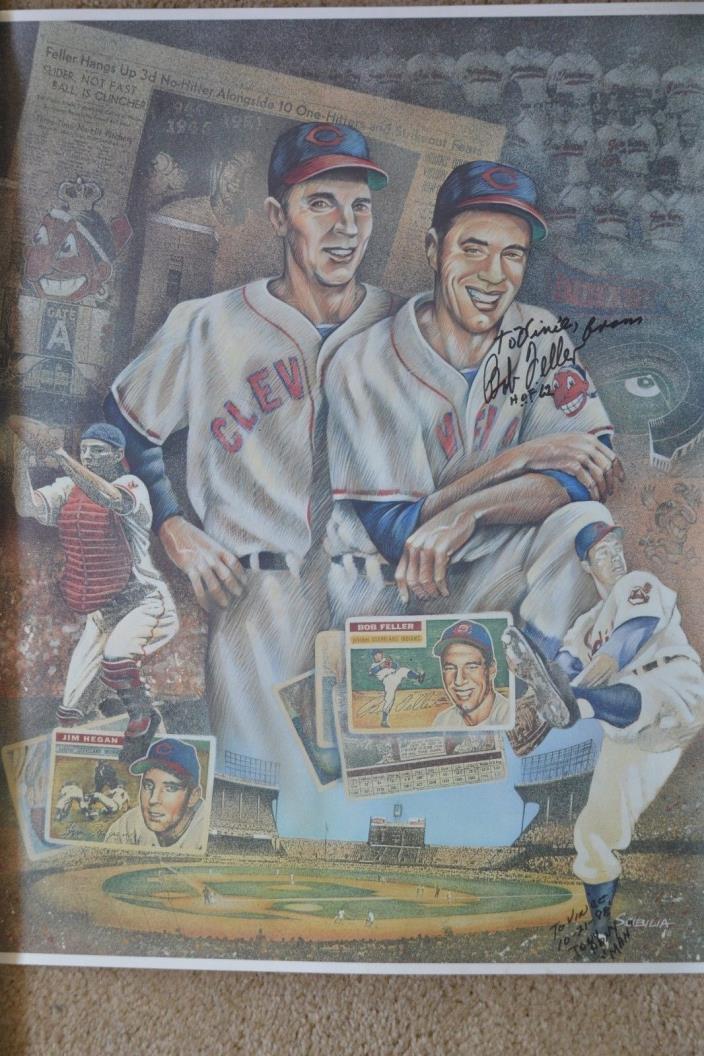 BOB FELLER & JIM HEGAN 22x17 poster Signed To Vince Bob Fuller & Tony