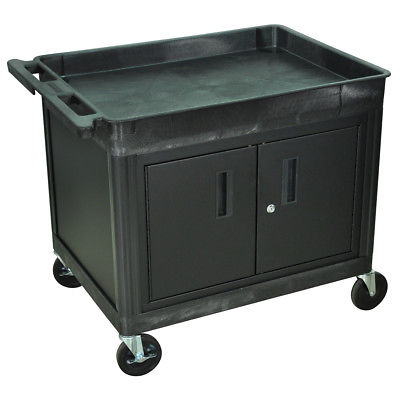 Luxor TC12C-B Black Large Top Tub Shelf Multi-Purpose Utility Cart w/ Cabinet