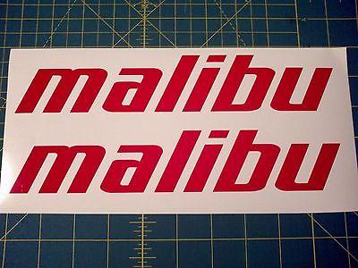 2 MALIBU BOATS DI-CUT STICKERS RED WAKEBOARD DECAL