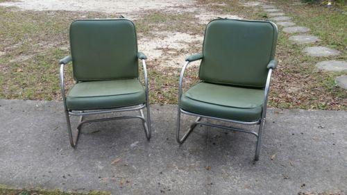 Vintage Pair of LLoyd Loom Products Arm Chairs; Vinyl; Avacado