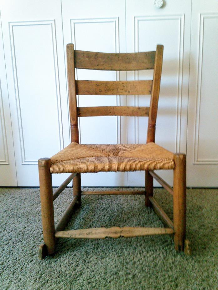 antique childs rocker chair original Shaker with rush seat