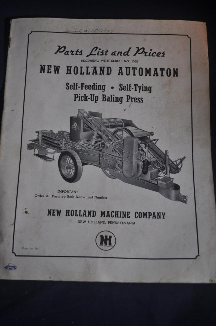1944 New Holland Self Feeding Self Tying Pick Up Baling Press Parts List & Price
