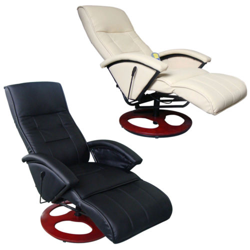 Electric Recliner WholeBody Massage Chair Heated w/ Remote Control Black/Cream