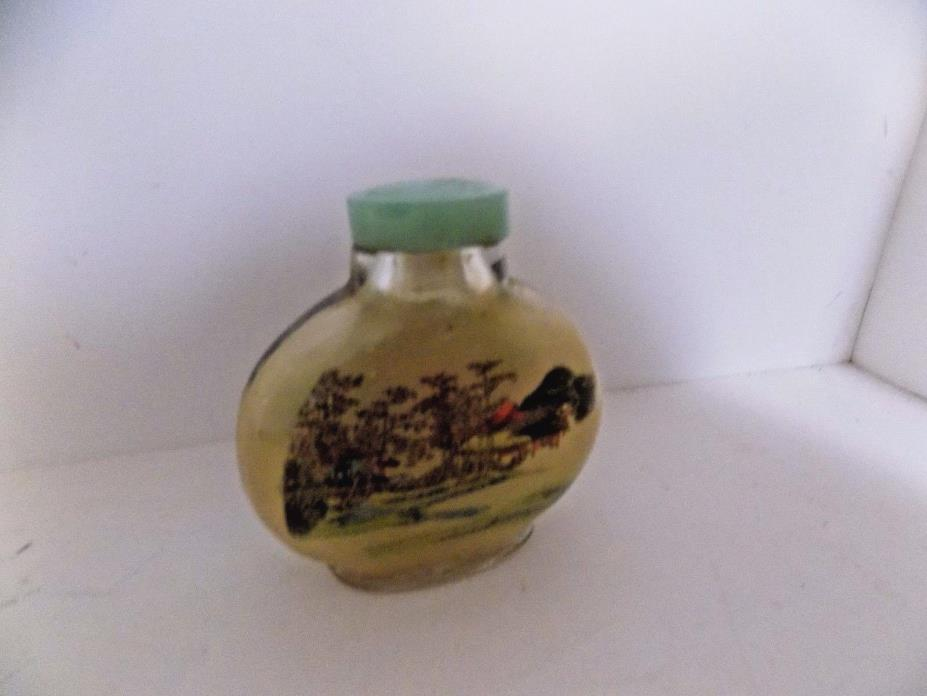 Vintage Asian Glass Snuff Bottle Reverse Painting Two Scenes