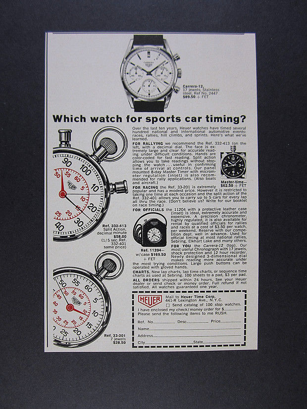1964 Heuer Carrera-12 Chronograph & Car Racing Stopwatches vintage print Ad
