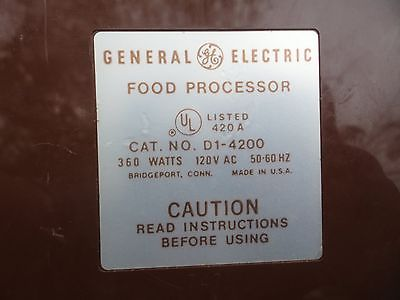 General Electric MODEL D1 4200 Food Processor Pusher  (pusher only)