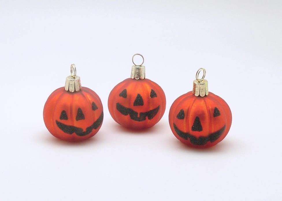 Halloween Ornaments Glass Pumpkins Jack 'O Lantern Place Card Holders