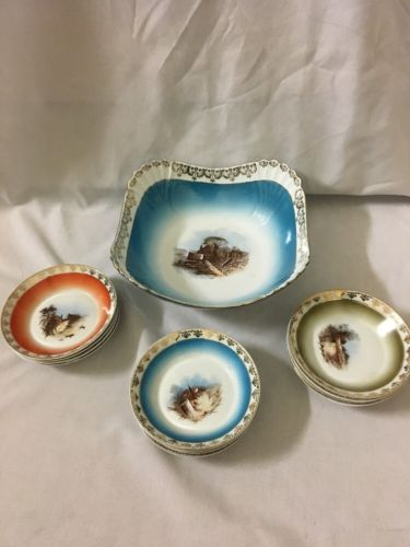 VINTAGE ICE CREAM DESSERT SET CARLSBAD AUSTRIA 13 PC HAND PAINTED
