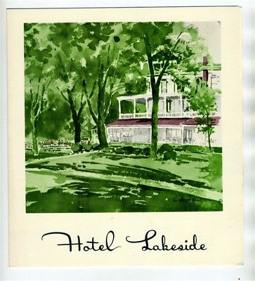 Hotel Lakeside Menu 1961Lakeside Chautauqua Ohio National Historic Landmark