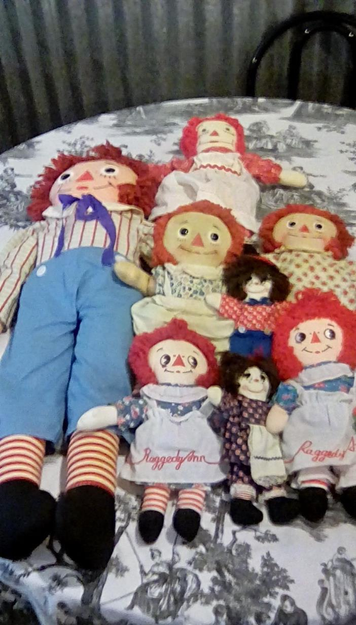 Vintage Lot of (8) Raggedy Ann's and Andy's - Knickerbocker, Applause, Handmade