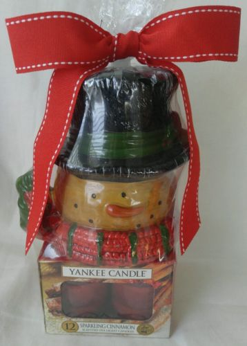 Yankee Candle Snowman Votive Holder Gift Set w/ 12 Sparkling Cinnamon Tea Lights