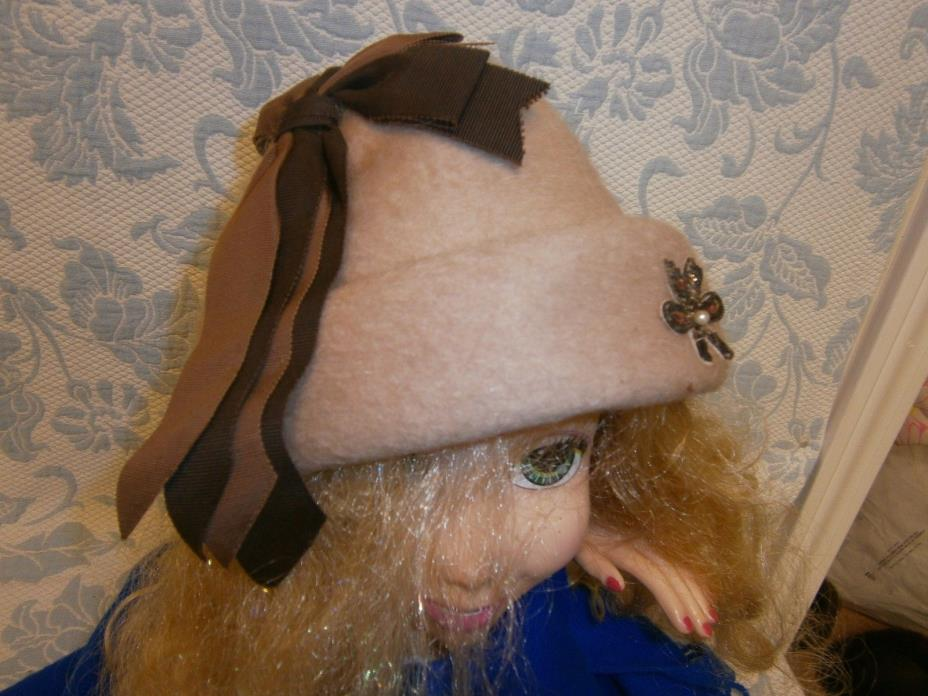 Stunning Brown Wool Mohair Look Cone Hat Vintage Browns Wide Ribbons Derby Tea