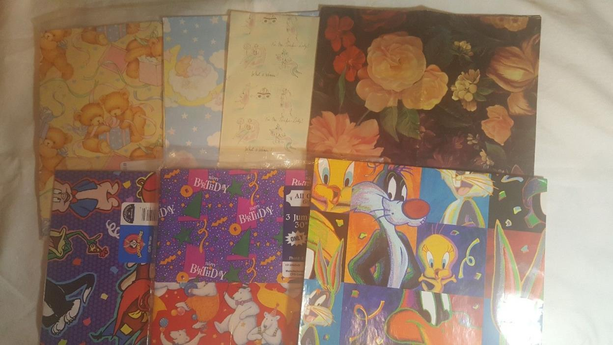 Vintage Variety, Folded Gift Wrapping Paper, Looney Tunes, Bears, Wrap Lot