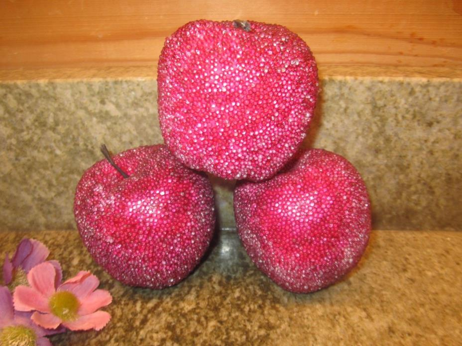 Vintage Set of 3 Sugar Coated Glass Beaded Artificial Fruit Apples EUC