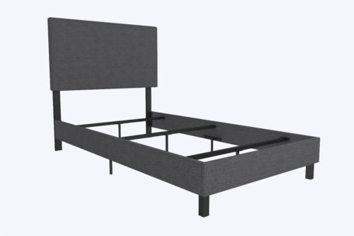 Upholstered Bed Frame Twin Size Panel Bedroom Furniture Headboard Modern Gray