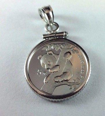 RARE 1996 1/20 oz. Platinum .9995 Fine Panda Coin 14k White Gold Bezel Pendant
