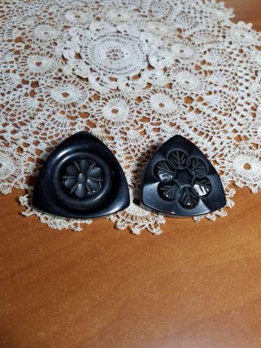 Vintage Art Deco Black Catalin Buttons,  Set of 2