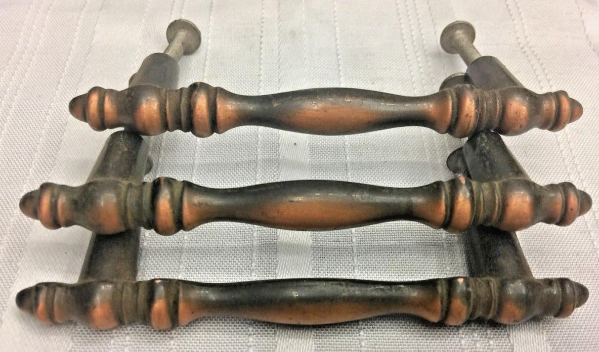 3 VTG. ANTIQUE COPPER PLATE WHITE METAL DRAWER CABINET PULLS 4 1/4