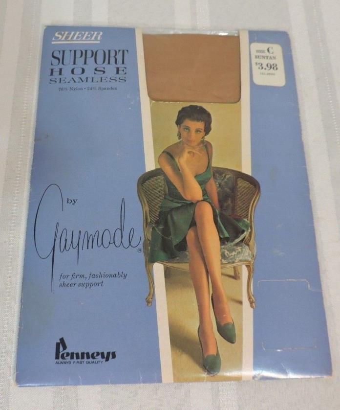 NOS Vintage Gaymode Sheer Support Hose Suntan size C Brand NEW pantyhose NEAT