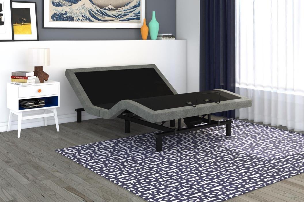 Adjustable Bed Base Upholstered Frame Queen Size Bedroom Furniture Modern Grey