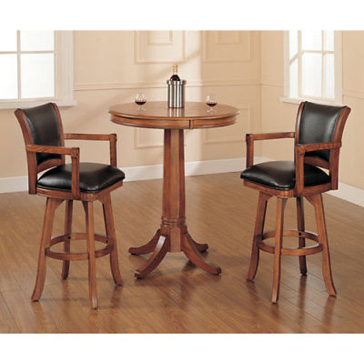 Park View Medium Brown Oak 42-Inch Bistro Table and Two Bar Stools