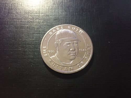 1995 Babe Ruth Silver Plated Coin Sultan of Swat Republic of Liberia 1 Dollar