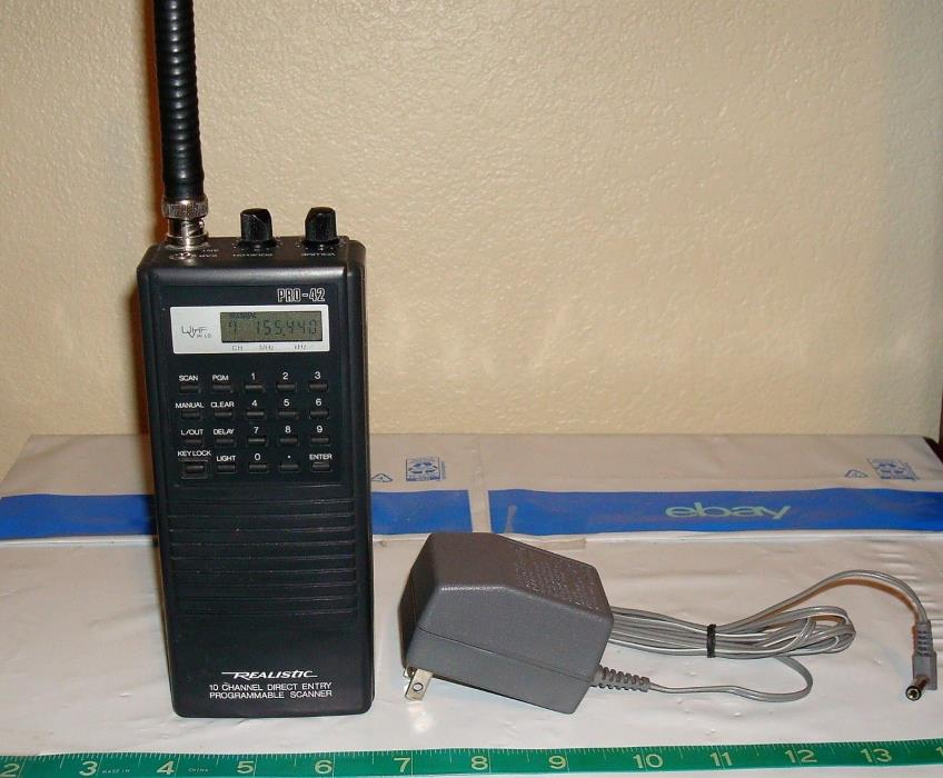 REALISTIC PRO-42 10 Channel Scanner Model 20-302 & AC Adapter- Excellent- EUC