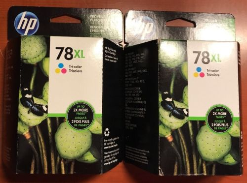 2 HP 78XL Tri-Color Ink Cartridge C6578AN New Genuine Sealed Box Date: 2013