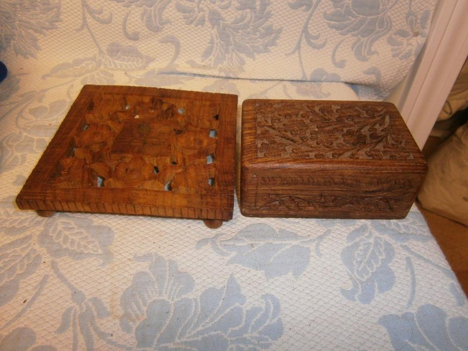 Intricately Carved Wooden Jewelry Trinket Box Vintage India with Trivet
