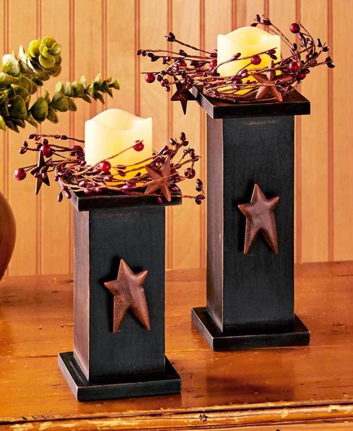 Sets of 2 Country Star LED Candles Black Or Red 3