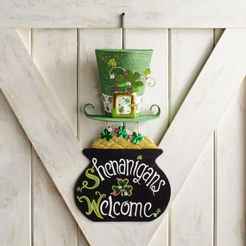 St. Patrick's Day Glittered Shenanigans Welcome Wall Decor