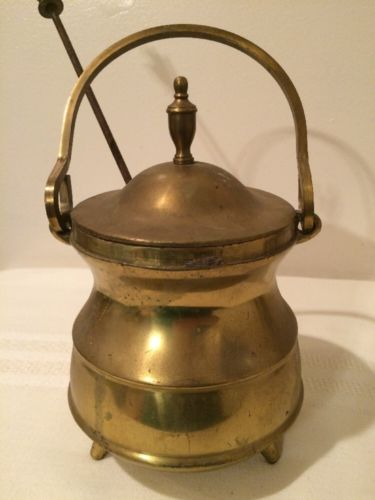 Early 1900's Pumice Stone Wand Solid Brass Hearth Smudge Pot Cauldron