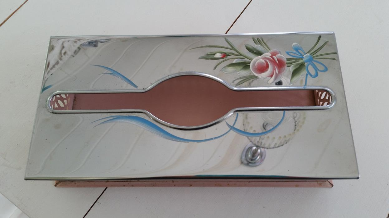 Vintage Tole Ware Kleenex Box Cover Pink Chrome Top Pink Roses Blue Shabby
