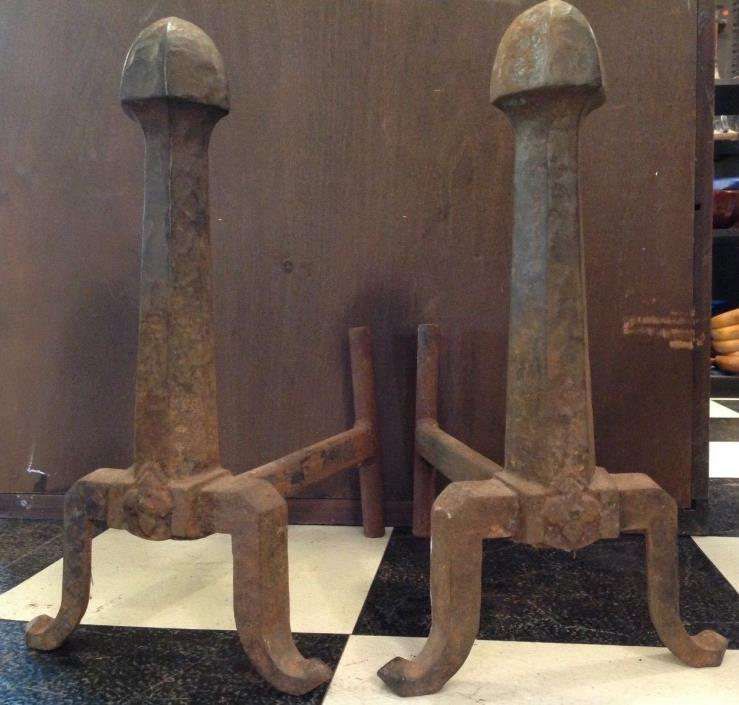 Pair of antique cast iron Craftsman Mission Arts Crafts Fireplace Andirons deco