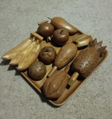 Vintage Wooden Hand Carved Fruits & Vegetables Decor Life Size