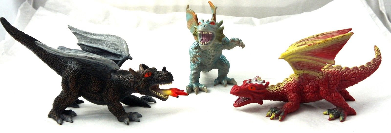 LOT OF 3 ACTION FIGURES FIREBALL DRAGONS TOY MAJOR MEGAWINGS